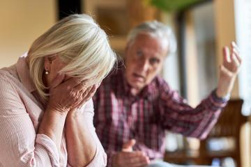 Senior streitet mit seiner frustrierten Ehefrau