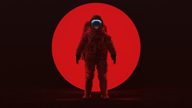 Astronaut in a Red Space Suit Standing in a Alien Void with a Clear Visor Woman's Face with a Big Red Alien Sphere in a Dark foggy void Front View 3d Illustration 3d render