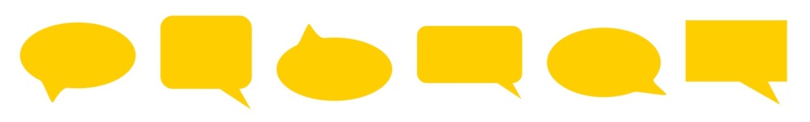 Speech Bubble Balloon Icon yellow | Blank Bubbles | Communication Symbol | Message Logo | Cartoon Sign | Isolated | Variations Fototapete