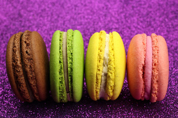Acrylic Prints Macarons Colored macaroons or macarons on a bright background