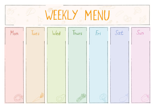 Cute A4 template for weekly menu with lettering and doodle drawings of food.