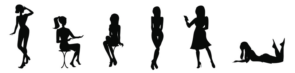 Set of black silhouettes of woman posing. Girls standing, sitting on a stool, lying. Female sign. Girl figure. Lady's room signs.