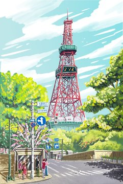 illustration tower landscape for travel