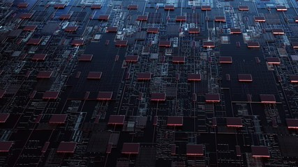 Wall Mural -  Abstract server circuit board processes requests for HTML code. Data moves in the form of moving lines. The movement and processing of data inside a server or computer. 3d rendering