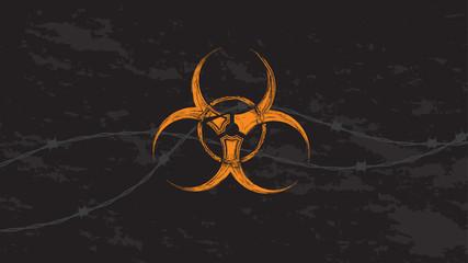 Orange biohazard sign with barbed wire in grunge style.