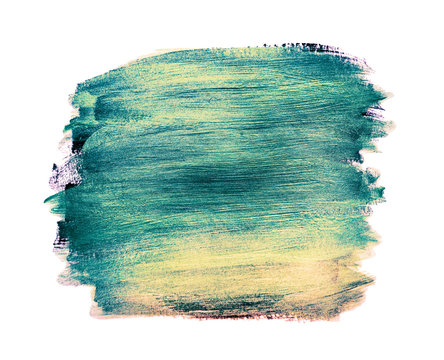 Color a wide square smear of paint. Layers are blue, gold, and pink .Color mixing, old paint, grunge