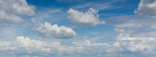 panorama image, dramatic cloud moving above blue sky, cloudy day weather background