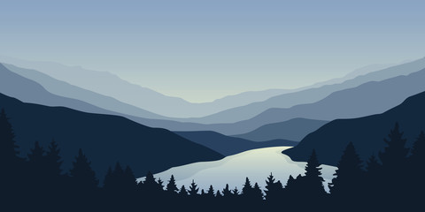 big blue river nature landscape outdoor adventure vector illustration EPS10 Fototapete