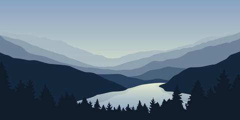 big blue river nature landscape outdoor adventure vector illustration EPS10 Fotomurales