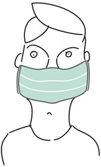 Young boy with mouth protection, protection against corona virus, infection, sars, mers