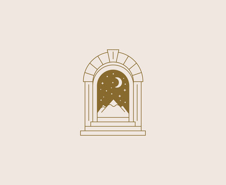 Vector abstract logos and branding design templates in trendy linear minimal style, emblem for home accessories and interior shops, small hotels