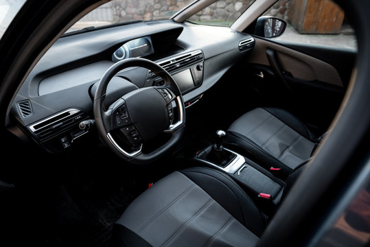 Driver's seat of the car. Car interior.