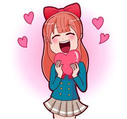 イラスト素材:少女漫画ヒロイン ハート プレゼント 笑顔