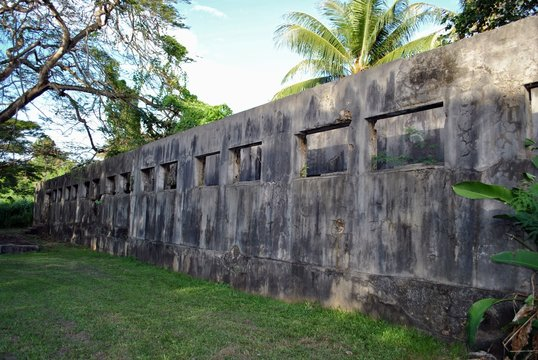 Ruins of a Japanese Jail where Amelia Earheart is supposed to be jailed on Saipan, Northern Mariana Islands.