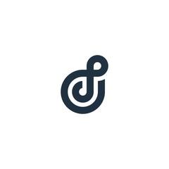 Letter D circle logo design concept.