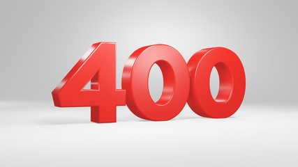 Number 400 in red on white background, isolated glossy number 3d render Fototapete
