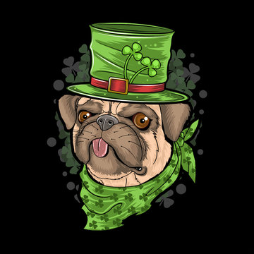 ST. PATRICK'S DAY PUG PUPPY DOG ARTWORK VECTOR