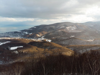 Oblique view from a mountain top with Otaru in the background,  snow and golden yellow fir trees in foreground