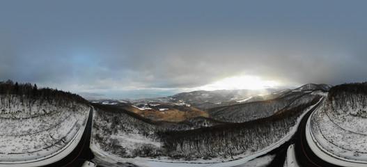 Panoramic Winter view of Otaru from Route 393 in Hokkaido