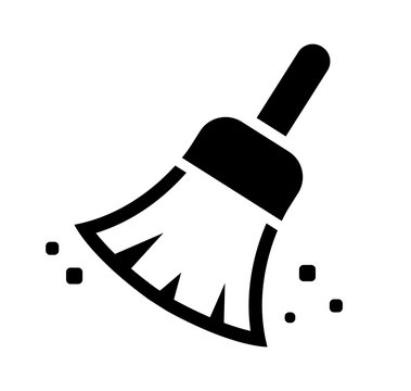 Broom, cleaner, duster vector icon illustration