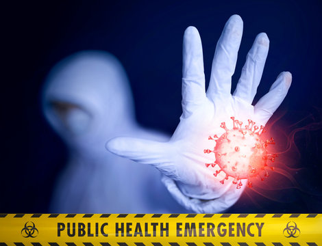 Public health emergency. Quarantine medic trying to stop an epidemic outbreak. Collage of photo and bloody 3D model of novel Chinese coronavirus. Yellow tape and Biohazard symbols. Mixed media image
