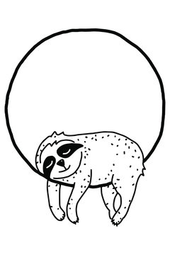 Sloth on a branch coloring book for adults vector illustration. Anti-stress coloring for adult. Zentangle style. Black and white lines.