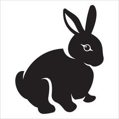 Silhouette of a hare, monochrome clip art