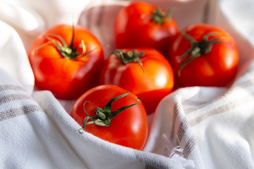 Ripe red tomatoes in a linen towel