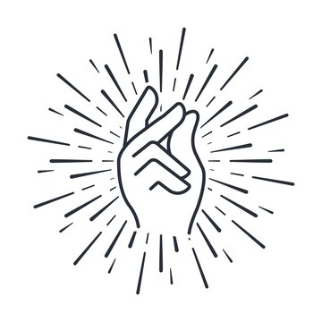 Fulfill desires with the click of your fingers. Vector icon on a white background.
