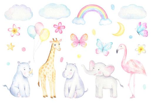 Watercolor Safari Animals Set