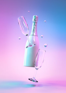 Party background. Creative design with realistic 3d festive objects, bottle champagne wine with glass. Colorful ultraviolet holographic neon lights. Creative concept