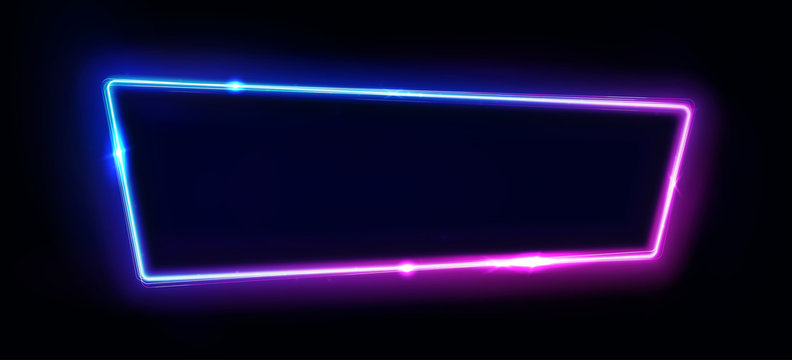 Neon border or frame. Lights sign. Vector abstract neon background for signboard or billboard. Geometric glow outline shape or laser glowing lines. Abstract background with space for logo or text.