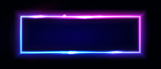 Neon rectangle frame or neon lights horizontal sign. Vector abstract background, tunnel, portal. Geometric glow outline shape or laser glowing lines. Abstract background with space for your text. Fotomurales