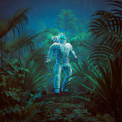 Back to nature / 3D illustration of science fiction scene showing astronaut exploring lush tropical alien jungle
