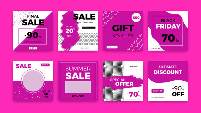 Social media web banners. Square sale discount promo layout isolated on pink background. Web price banner templates for mobile apps, digital blogging, vector set