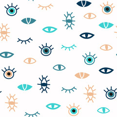 Trendy evil eyes seamless pattern as set of various hand drawn talismans in simple flat design, free hand doodle style, contemporary modern vector illustration