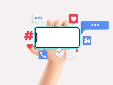 Cartoon device Mockup with icons. Cartoon hand holding phone on white background. 3d illustration. Social Media Concept.