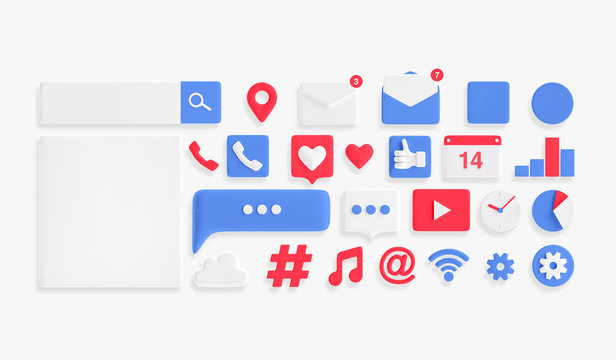 Social media Icons set. 3d illustration icons.