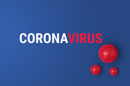 Abstract Coronavirus strain China respiratory syndrome and outbreack Novel coronavirus 2019-nCoV with text on blue background. Virus Pandemic Protection Concept