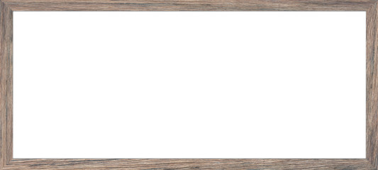 Horizontal wooden photo frame ,Blank space for text input.board isolated on white background,Clipping Path.