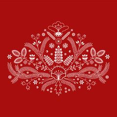 Polski folklor - wzór kujawski na czerwonym tle