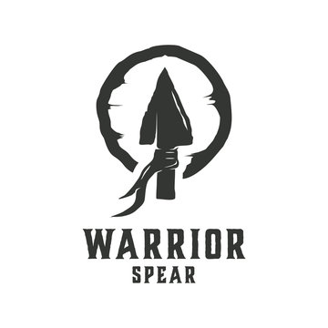 Vintage Retro Rustic Arrowhead Spear Hunting Hipster Logo Design isolated on white background