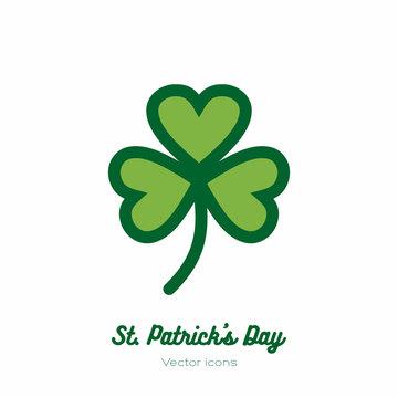 Saint Patricks day lucky clover, shamrock, trefoil vector icon. Green art flat icon for logo, sign, button. Minimalist st Patricks day menu, flyer, poster. Isolated Patrick trefoil