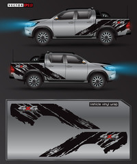 4 wheel drive truck and car graphic vector. abstract lines with black background design for vehicle vinyl wrap