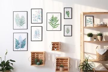 Beautiful paintings of tropical leaves and houseplants in room