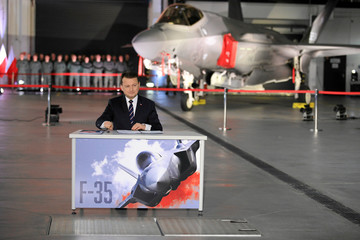 Poland's Defence Minister Blaszczak attends a ceremony to sign a contract for the purchase of Lockheed Martin F-35 fighter jets in Deblin
