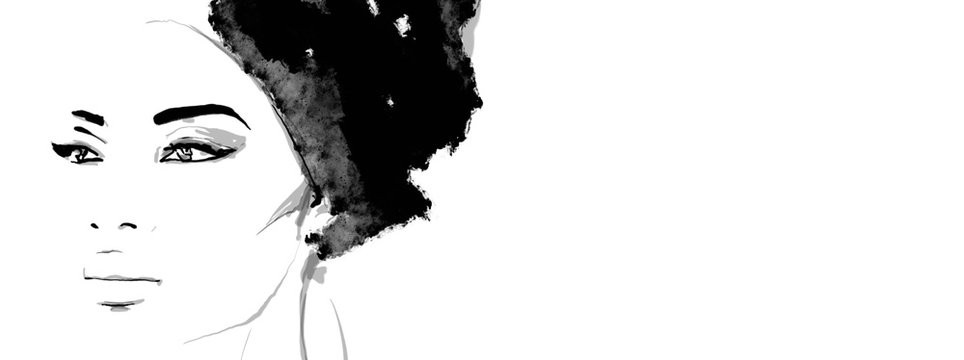 African American illustration for fashion banner. Trendy woman model background. Afro hair style girl