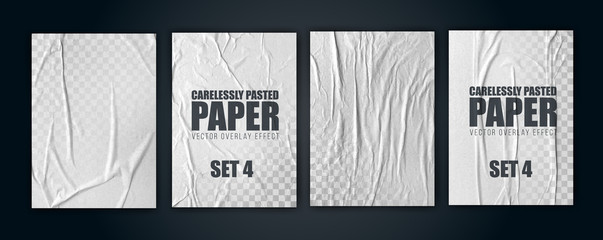 vector illustration object. badly glued white paper. crumpled poster. set4 Fototapete