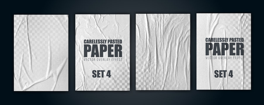 vector illustration object. badly glued white paper. crumpled poster. set4