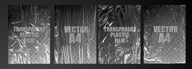 vector illustration. texture transparent stretched film polyethylene. vector design element graphic rumpled plastic warp